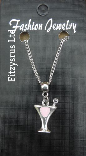 "18"" 24"" Inch Necklace & Silver & Pink Cocktail Glass Charm Pendant Gift Souvenir"